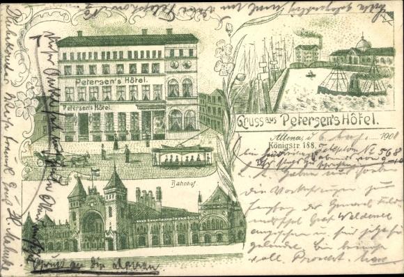 Litho Hamburg Altona, Bahnhof, Petersens Hotel 0