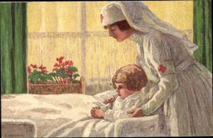 Ganzsachen Künstler Ak Bundesfeier 1927, Krankenschwester