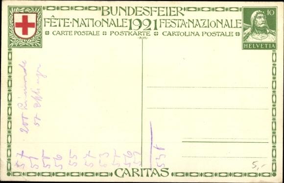 Ganzsachen Künstler Ak Bundesfeier 1927, Krankenschwester 1