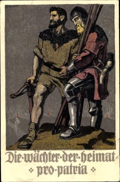 Künstler Ak Schweizer Bundesfeier 1910, Die Wächter der Heimat, Pro Patria, Tell 0