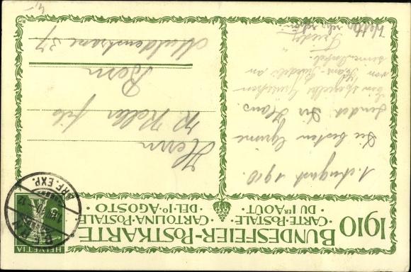 Künstler Ak Schweizer Bundesfeier 1910, Die Wächter der Heimat, Pro Patria, Tell 1
