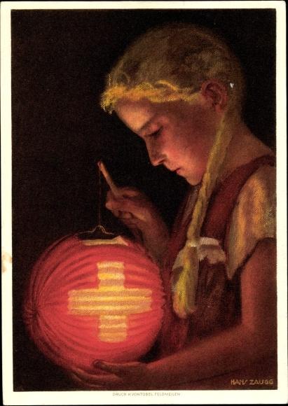 Künstler Ak Zaugg, Hans, Bundesfeier 1936, Mädchen mit Laterne 0