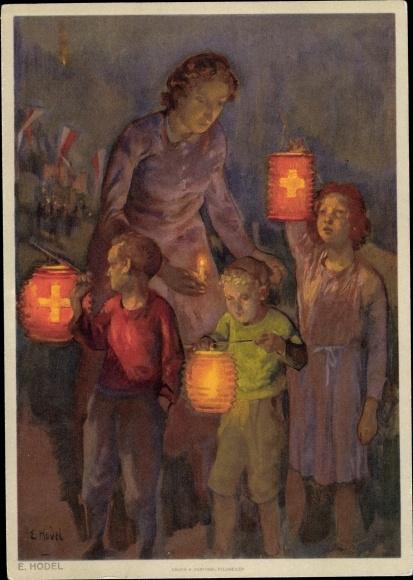 Künstler Ak Hodel, E., Bundesfeier 1947, Mutter, Kinder, Laternen 0