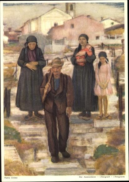 Künstler Ak Chiesa, Pietro, Schweiz, Bundesfeier 1946, Der Auswanderer 0
