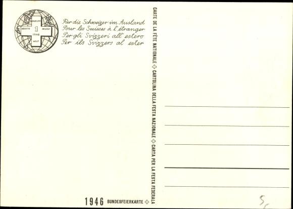 Künstler Ak Chiesa, Pietro, Schweiz, Bundesfeier 1946, Der Auswanderer 1