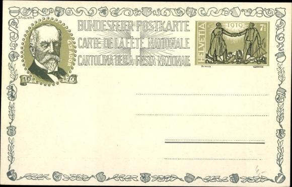 Ganzsachen Ak Gottfried Keller, Schweizer Dichter und Politiker, Bundesfeier 1919 1