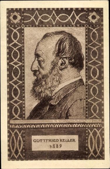 Ganzsachen Ak Gottfried Keller, Schweizer Dichter und Politiker, Bundesfeier 1919 0