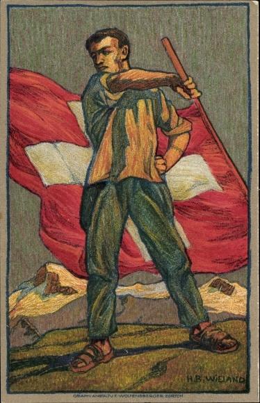 Ganzsachen Künstler Ak Wieland, H. B., Schweizer Bundesfeier 1912, Rotes Kreuz 0