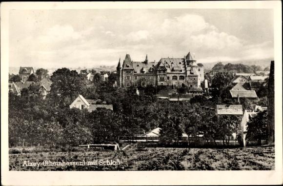 Ak Alzey in Rheinhessen, Ortspartie mit Schloss 0