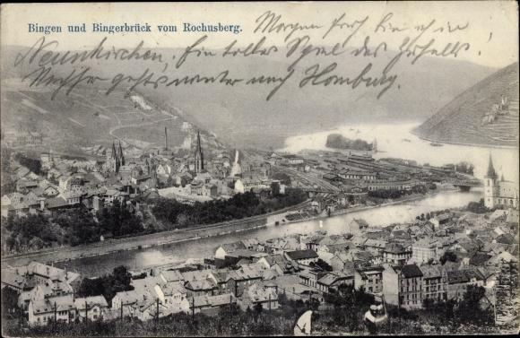 Ak Bingen am Rhein, Panorama vom Ort 0