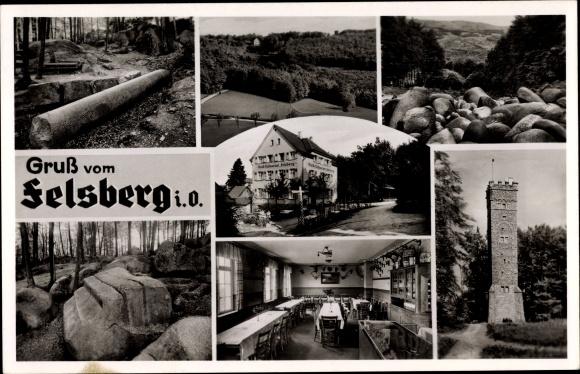 Ak Felsberg in Hessen, Wald Restaurant und Pension, Außenansicht und Innenansicht 0