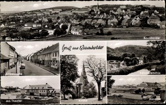 Ak Baumholder im Westrich, Alleestraße, Theater, Kirche, Edingersmühle, Kaserne 0