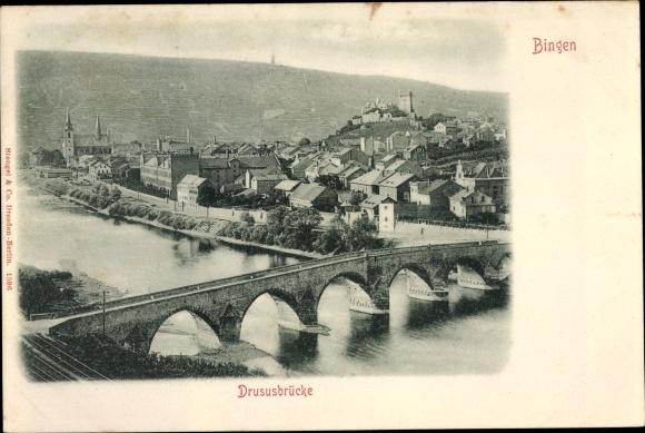 Ak Bingen am Rhein, Blick auf Drususbrücke 0