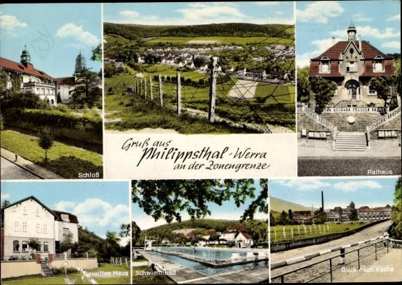 Ak Philippsthal Werra, Hotel Pension Villa Koch, Schloss, Rathaus 0