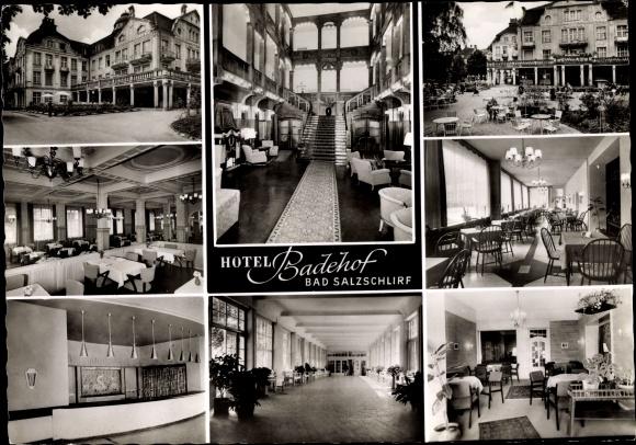 Ak Bad Salzschlirf in Hessen, Hotel Badehof, Außen und Innenansicht 0