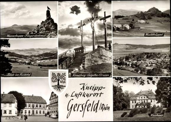 Wappen Ak Gersfeld in der Rhön Hessen, Weserkuppe, Fliegerdenkmal, Rathaus, Kurhaus 0