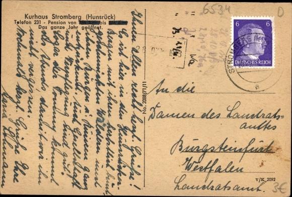 Ak Stromberg im Hunsrück, Kurhaus, Außenansicht 1