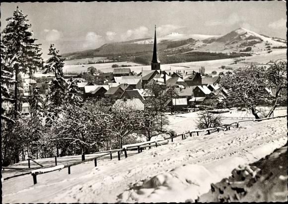 Ak Poppenhausen Hessen, Weiherberg, Ortspartie mit Wasserkuppe 0