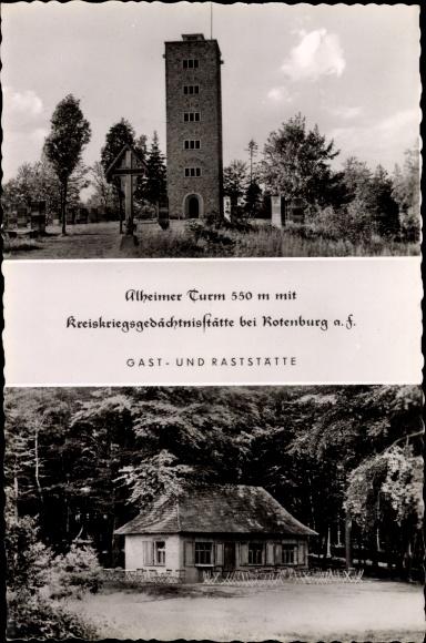 Ak Rotenburg an der Fulda, Alheimer Turm und Gast und Raststätte 0