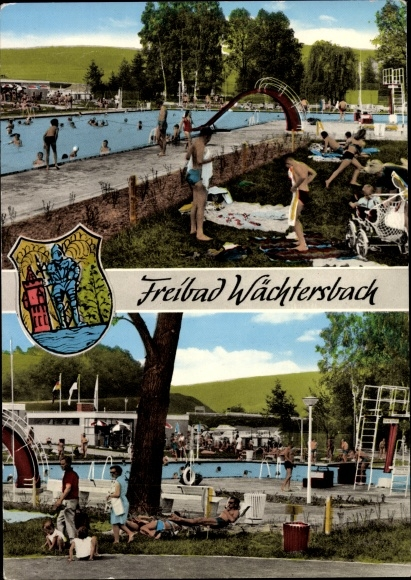 Wappen Ak Wächtersbach Hessen, Blick aufs Freibad 0