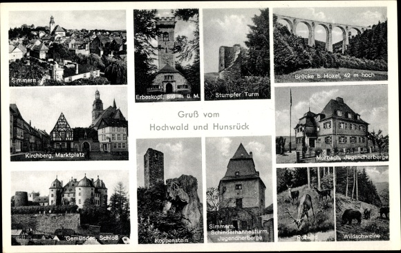 Ak Simmern Hunsrück, Erbeskopf, Stumpfer Turm, Kirchberg, Koppenstein 0