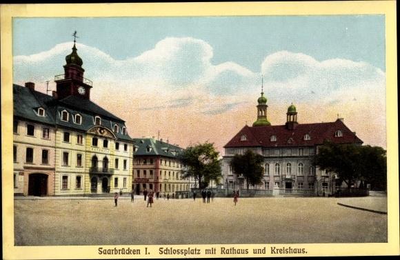 Ak Saarbrücken im Saarland, Schlossplatz, Rathaus, Kreishaus 0