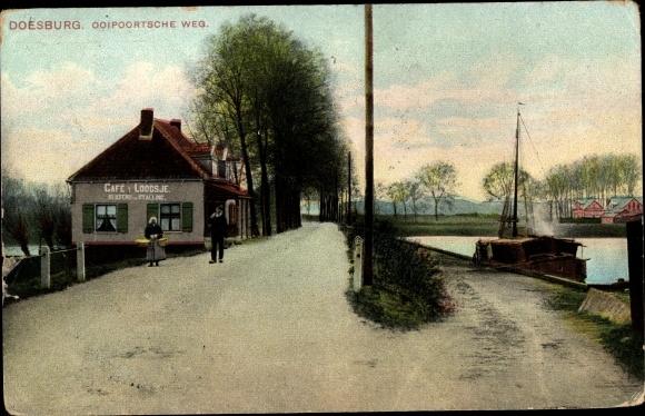 Ak Doesburg Gelderland Niederlande, Ooipoortsche Weg, Cafe & Loodsje 0