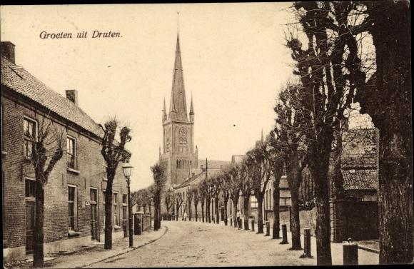 Ak Druten Gelderland Niederlande, Kerk, Straat 0