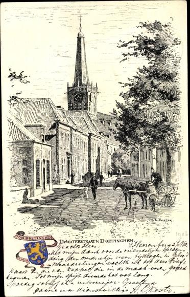 Künstler Ak Doetinchem Gelderland, De Waterstraat, Kerk, Wappen 0