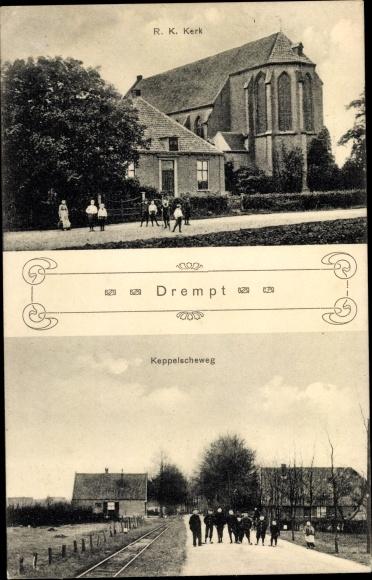 Ak Drempt Gelderland Niederlande, R. K. Kerk, Keppelscheweg 0