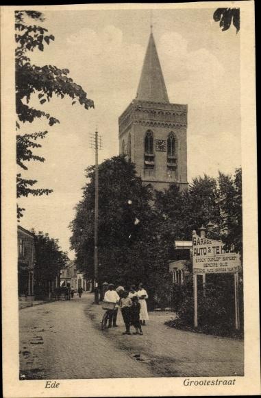 Ak Ede Gelderland Niederlande, Grootestraat, Kerk 0