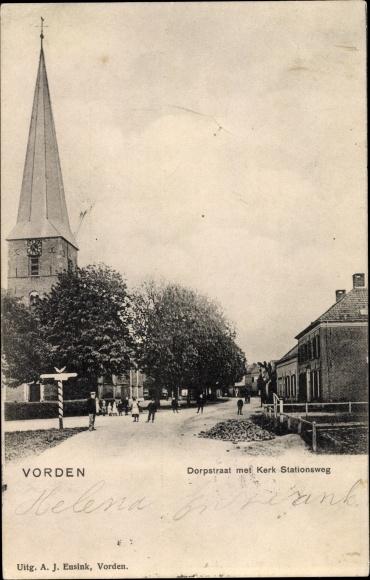 Ak Vorden Gelderland, Dorpsstraat, Kerk, Stationsweg 0