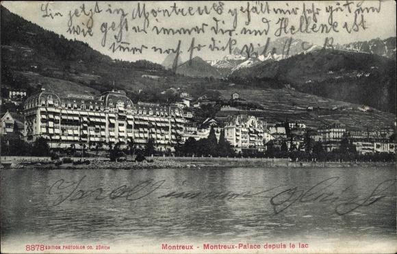 Ak Montreux Kanton Waadt Schweiz, Montreux Palace depuis le lac 0