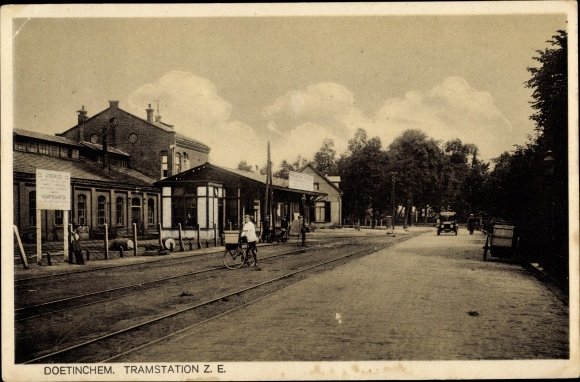 Ak Doetinchem Gelderland, Tramstation Z. E., Straßenbahnhaltestelle 0