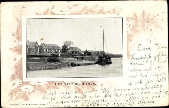 Passepartout Ak Dieren Gelderland, Het Veer, Boot, Häuser 0