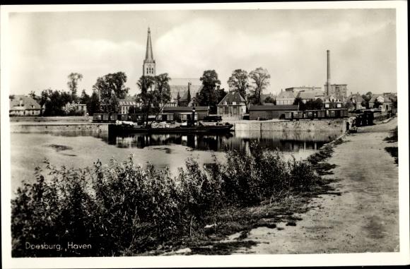 Ak Doesburg Gelderland Niederlande, Haven, Blick auf den Ort, Kirche 0