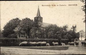 Ak Erichem Gelderland, Hervormde Kerk en Pastorie, Schafe, Kirche
