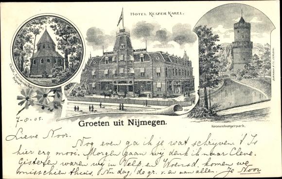 Litho Nijmegen Gelderland, Hotel Kaizer Karel, Kronenburgerpark, Kapelle 0