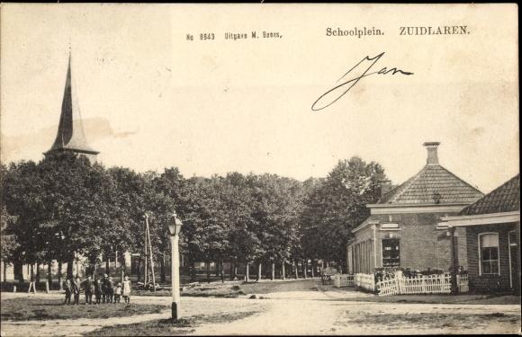 Ak Zuidlaren Drenthe Niederlande, Schoolplein, Kirche 0