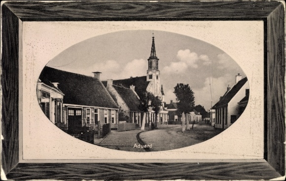 Passepartout Ak Aduard Groningen, Straßenpartie, Kirche 0