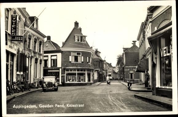 Ak Appingedam Groningen Niederlande, Gouden Pand, Kniestraat, Auto, Geschäfte 0
