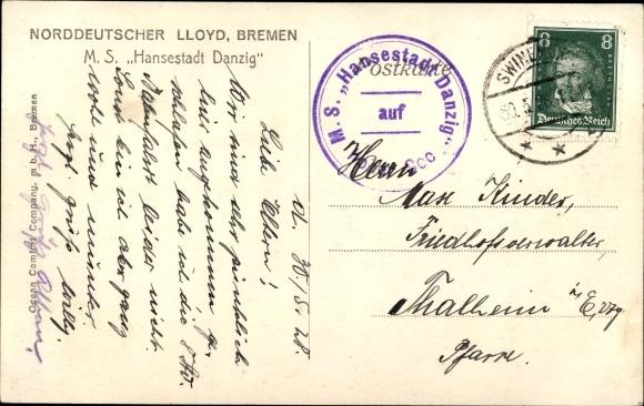 Ak Dampfer MS Hansestadt Danzig, Norddeutscher Lloyd Bremen 1