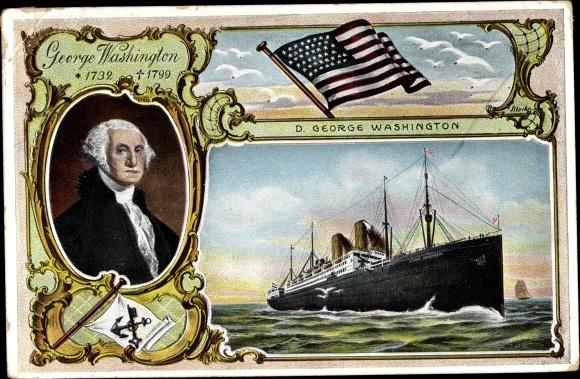 Künstler Ak Dampfer George Washington, NDL, Portrait, USA Flagge 0