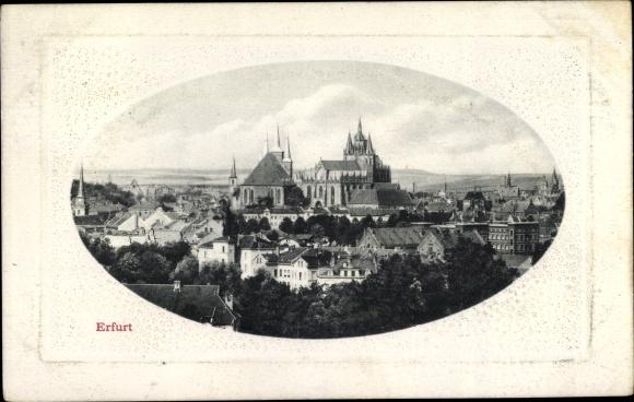 Passepartout Ak Erfurt in Thüringen, Teilansicht mit Dom 0