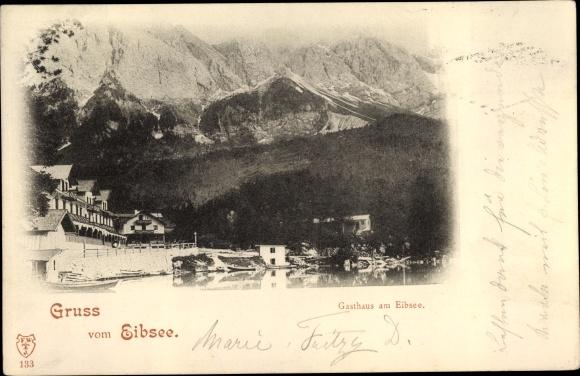 Ak Garmisch Partenkirchen in Oberbayern, Eibsee, Gasthaus am Eibsee 0