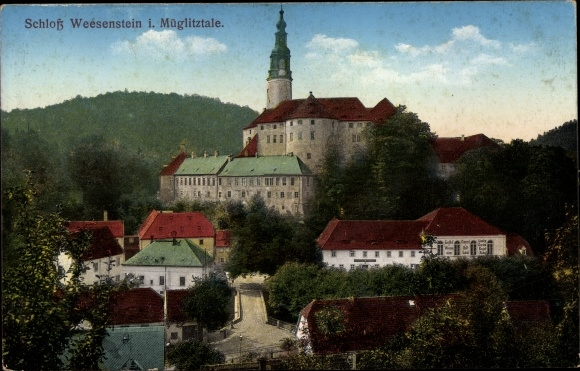 Ak Weesenstein Müglitztal in Sachsen, Schloss, Panorama 0