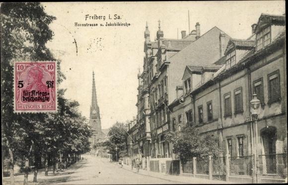 Ak Freiberg in Sachsen, Hornstraße und Jakobikirche 0