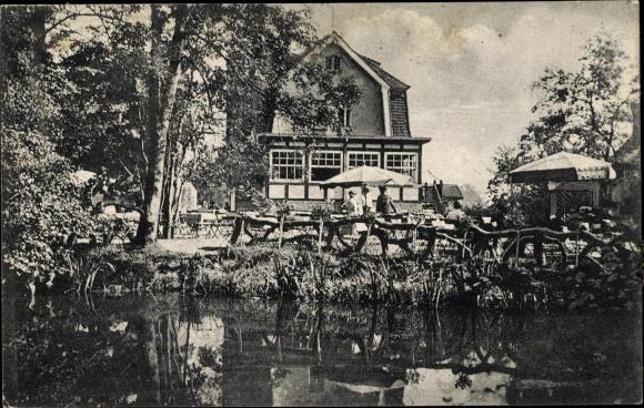 Ak Gautzsch Markkleeberg in Sachsen, Waldcafe zur Mühle, Uferpartie 0