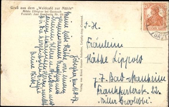 Ak Gautzsch Markkleeberg in Sachsen, Waldcafe zur Mühle, Uferpartie 1