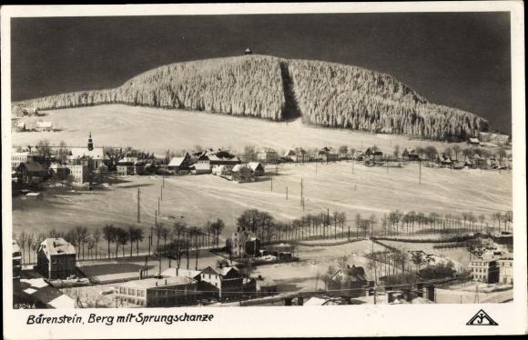 Ak Bärenstein Erzgebirge, Berg mit Sprungschanze, Winterpanorama 0